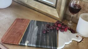 "Image of a 13"" Natural Marble + Wood Cheese Board"