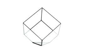 "Image of a 5"" Tilted Cube Geometric Glass Vase"