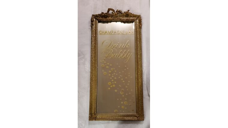 """Picture of a Gilded """"Champagne Bar"""" Mirror"""