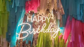 Image of a 33.5 in Happy Birthday Neon LED Sign