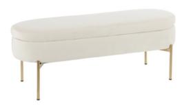 """Image of a 48"""" Cream Velvet Upholstered Bench"""