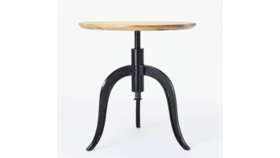 Image of a Adjustable Height Round Wood End Table