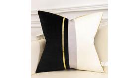 "Image of a 18"" Black and Cream Velvet Throw Pillows"