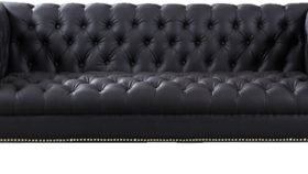 """Image of a 84"""" Black Vegan Leather Chesterfield"""