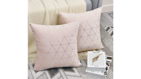 Image of a Blush Pink and Gold Throw Pillow