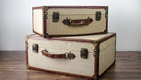 Image of a Burlap Vintage Look Luggage Case (Set of 2)