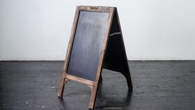 "Image of a Chalboard Walnut A Frame 32""T x 15""W"