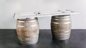 "Image of a Bar, Wine Barrel - Mismatch Door Top 36""x 6' 1/2"