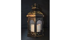 Image of a Antiqued Black/Gold Hex Lantern w/ Clear Glass