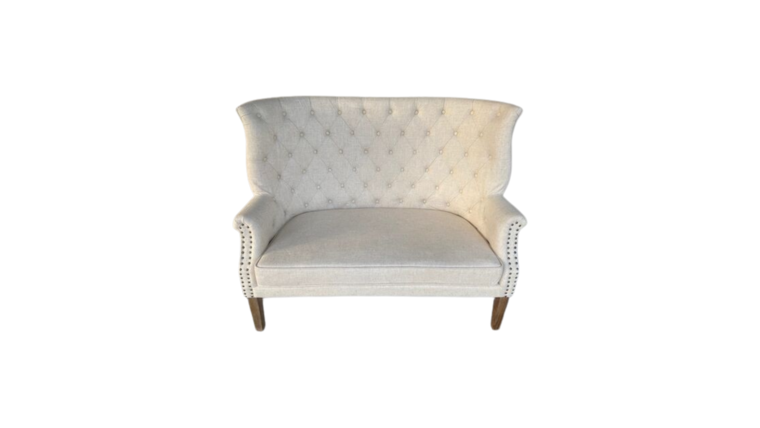 Picture of a Settee Tufted & Nailhead Linen