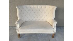 Image of a Settee Tufted & Nailhead Linen