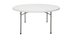 "Image of a 60"" D Round Plastic Table Folding - centerfold"