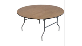 "Image of a 60"" D Round Wood Table Folding"