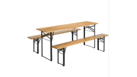 Image of a 3 Piece Beer Garden Table & Benches Folding, Wood/Metal