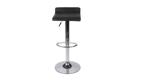 Image of a Adjustable Bar Stool, modern faux black leather & chrome