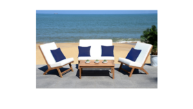 Image of a 4 Piece Outdoor Chair & Table set with Cushions