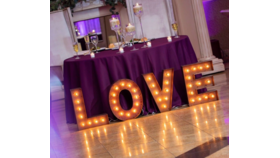"Image of a LOVE Marquee Sing 18"" H, steel, brown pattina"