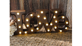 "Image of a LOVE Marquee Sign 9"" H, battery operated"