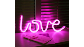 Image of a LOVE LED Neon Sign, pink, battery operated
