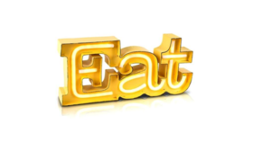 "Image of a EAT Marquee Sign, Metal 6.5"" H x 14"" W, battery operated"