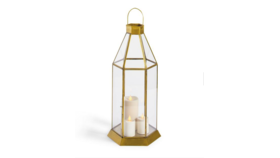 "Image of a Geometric Glass Lantern Large 20"" H x 9 1/4"" D, 4 lbs"