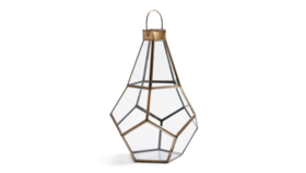 "Image of a Geometric Glass Lantern ""Irving"" 14"" H x 9 1.2 D"