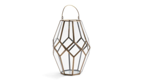 "Image of a Geometric Glass Lantern ""Taylor"" 121/2 ""H x 8 1/4 "" D"