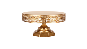 "Image of a Cake Stand, color gold 6""H x 12""W x 12""L"