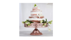 "Image of a Cake Stand, color rose gold 6""H x 12""W x 12""L"