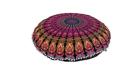 """Image of a Floor Pillow Mandala, round 32"""", color lavender, yellow, red"""