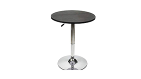 "Image of a Cocktail table w/hydraulic base, chrome/metal & black top 23.6"" D X 27.5""-35.8"" H - quantity 2"