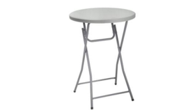 "Image of a Cocktail Table Round, plastic top - Folding 31.25"" D 43.5"" H - for ceremony toast/later reception"