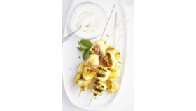 Image of a Fruit kebabs with pina colada dip