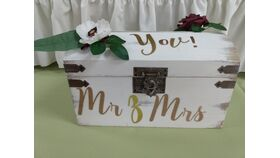 Image of a Card Box - Wooden with Lettering