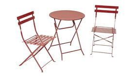Image of a Maroon Metal Patio Set