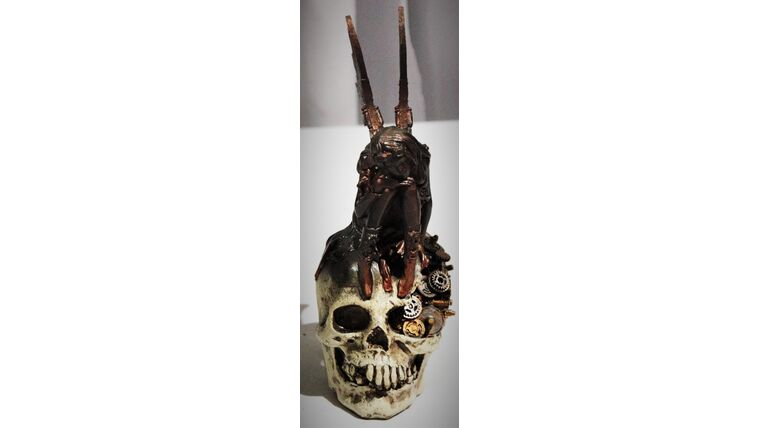 "Picture of a 11"" Steam Punk Skull and Pixie Statue"