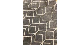 Image of a 10' x 8' Grey and white geometric zig zag carpet