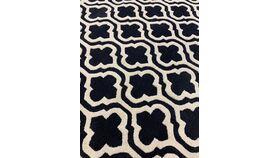 Image of a 10' x 10' square  Black / ivory shamrock medallion carpet