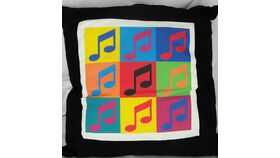 Image of a Black Musical Note Pillow