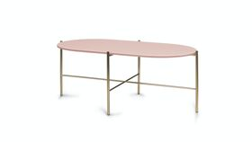 Image of a BLUSH OVAL GLASS COFFEE TABLE