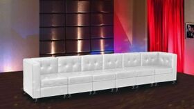 Image of a White Lowback Long Sofa- ES- Add 12% Damage Wavier