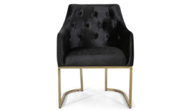 Image of a Black Tufted Velvet Accent Chair