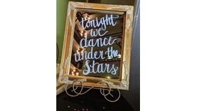 """Image of a """"Tonight we dance under the Stars"""" Gold framed sign"""