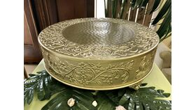 """Image of a 18"""" Gold Embossed Cake Stand"""