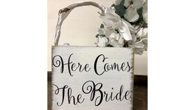 "Image of a ""Here Comes the Bride"" white wood flower girl basket"
