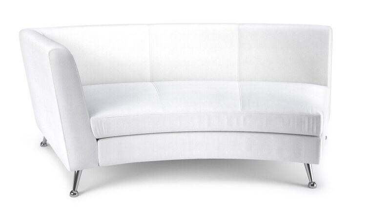 Picture of a white leather curved sectional left arm section