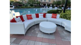 White Leather Curved Sectional with Ottoman image