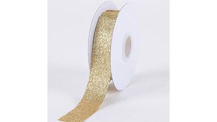 Picture of a 1/2 Inch Glitter Gold Ribbon