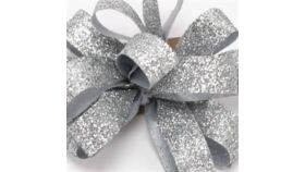 Image of a 1 & 1/2 Inch Sparkle Silver Ribbon