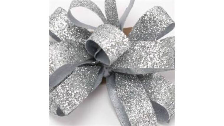 Picture of a 1 & 1/2 Inch Sparkle Silver Ribbon